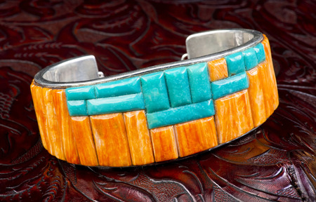 cuff bracelet: Rare Navajo orange spiny oyster and turquoise silver bracelet.