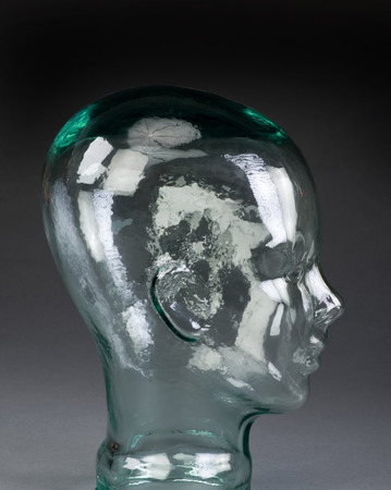 cerebrum: Side view of glass head boy. Stock Photo