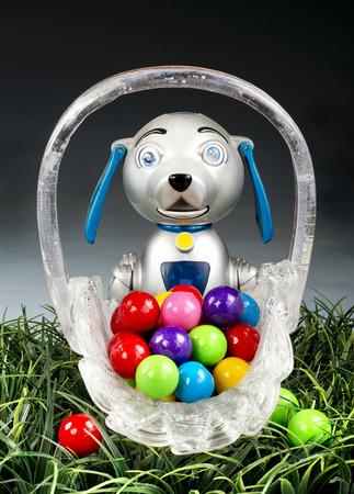 steam mouth: Steam Punk dog with basket of jawbreaker candies.. Stock Photo