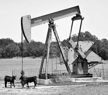oil well pumper: Oil well pumper in West Texas. Stock Photo