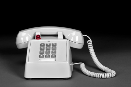 hangup: Old style telephone in black and white. Stock Photo