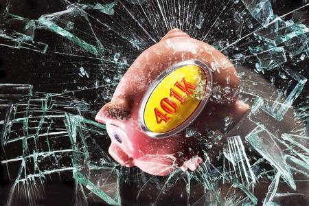 broken glass window: 401K pink piggy bank through broken glass window. Stock Photo