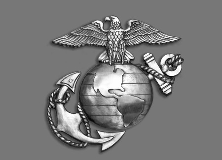 venerate: Marine eagle,globe and anchor brass emblem in black and white.