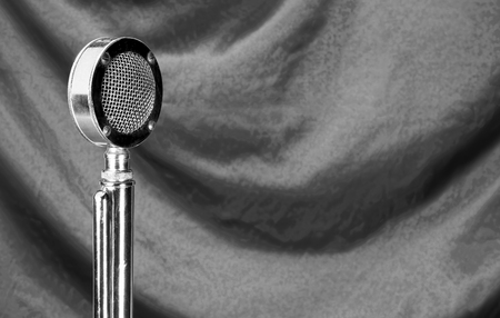 podcasting: Old microphone in black and white with room for your type. Stock Photo