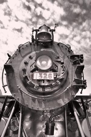 black train: Steam locomotive train in black and white.