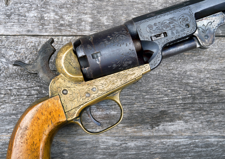 six shooter: Close up of a western six shooter pistol. Stock Photo