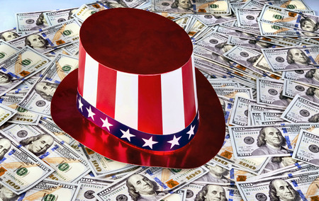 ben franklin: New American Hundred dollar bills under Uncle Sam Hat. Stock Photo