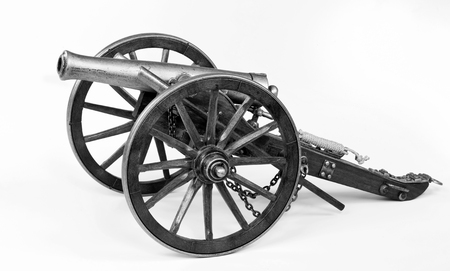 firepower: Model of a 1863 Dahlgren cannon in black and white. Stock Photo