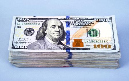 Stack of new American Hundred Dollar Bills.
