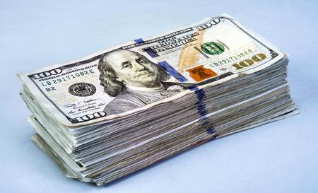 ben franklin money: Stack of new American Hundred Dollar Bills.
