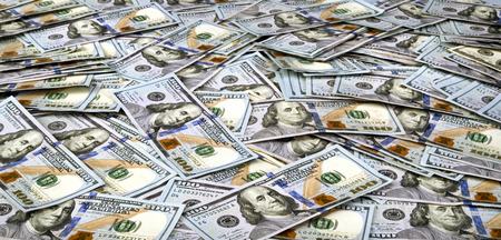 ben franklin money: Table full of new American  Hundred Dollar Bills . Stock Photo