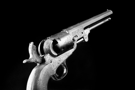 The gun that won the west, Six shooter in black and white.