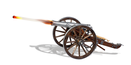 Shooting cannon ball out of old cannon.