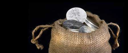 tangible asset: Burlap sack of silver eagle dollars with room for your type.