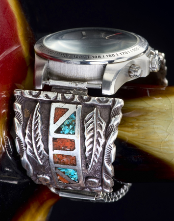 cuff: Old Navajo silver watch cuff with turquoise and coral.