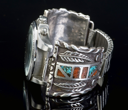 antique jewelry: Old Navajo silver watch cuff with turquoise and coral.