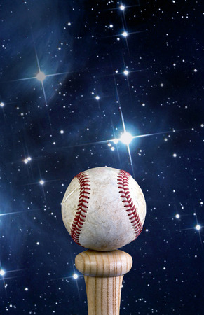 shinning: Baseball and bat with stars shinning with room for your type.
