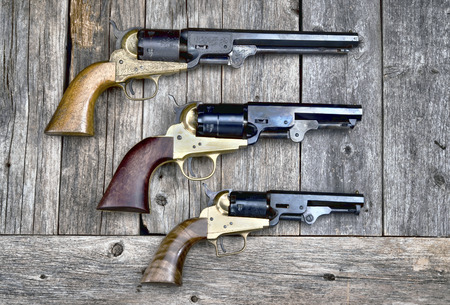 six shooter: Cowboy guns that won the wild west. Stock Photo