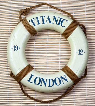 titanic: Titanic lifesaver with London on it and date of 1912. Stock Photo