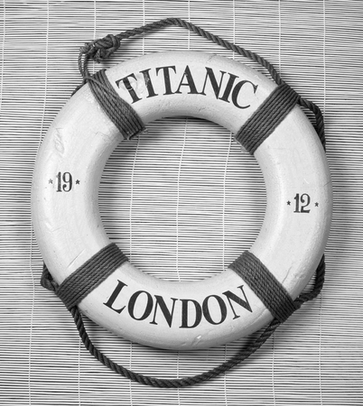 titanic: Titanic lifesaver with date of 1912 and London on it in black and white.
