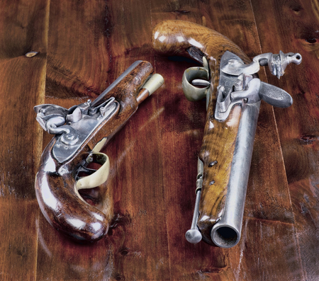 muzzleloader: 18th century English flintlock pistols. Stock Photo
