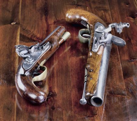 muzzleloader: 18th century English flintlock pistols. Stock Photo