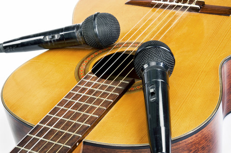 acoustical: Record the music with microphones and acoustical guitar. Stock Photo