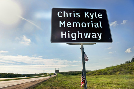 Midlothian, Texas - Aug.28,2016  Chris Kyle Memorial Hwy part of Hwy 287 in Midlothian ,Texas  opened in 2016. Chris Kyle was the American Sniper reported to be the deadliest sniper in history.