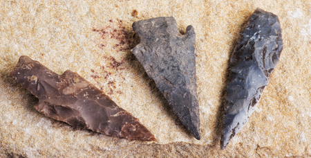 indian artifacts: Real American Indian arrowheads found in Dripping Springs ,Texas. Stock Photo
