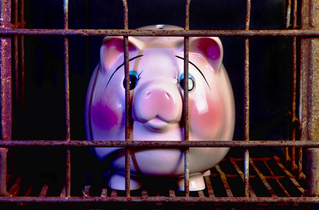 jail: Pink piggy band in jail needing more money.