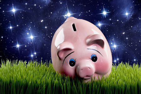 money cosmos: Pink piggy bank at dusk with stars glowing.