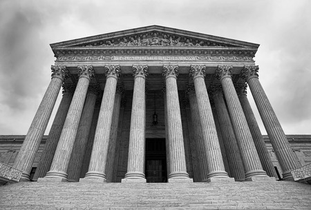 supreme court: The Supreme Court building in Washington DC. in black and white.