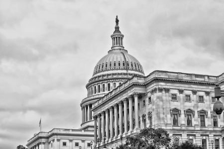 congressional: American Capital Building in Washington DC in black and white with room for your type.