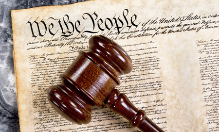 Bill of rights, we the people with wooden gavel .