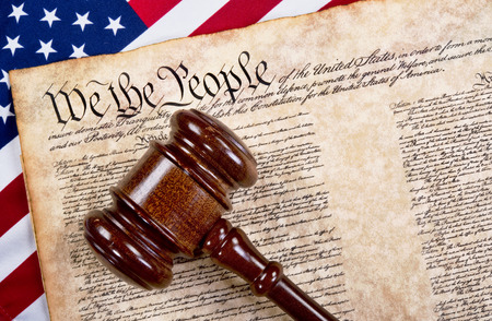 amendment: Bill of rights, we the people with wooden gavel and American flag.