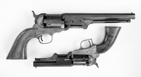 peacemaker: Two old western six shooter cowboy pistols in black and white. Stock Photo