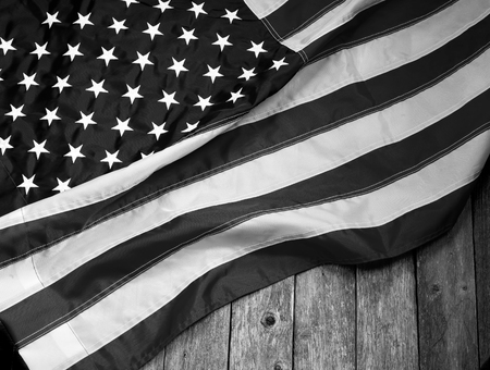 American flag with room for your type in black and white. Stock Photo