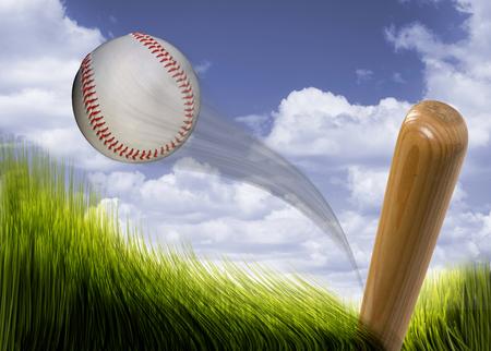hardball: Baseball bat hitting fast hardball. Stock Photo