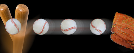 Fast baseball flying in with speed to baseball bat.