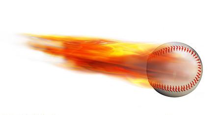Homerun baseball on fire flying fast.