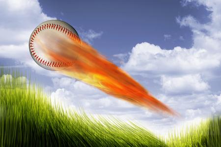 Baseball on fire speeding very fast. Stock Photo
