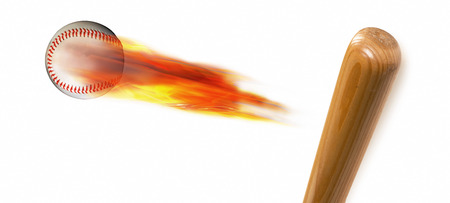 Baseball on fire and bat with room for your type. Stock Photo