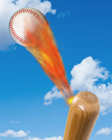 hurl: Baseball on fire and bat with room for your type. Stock Photo