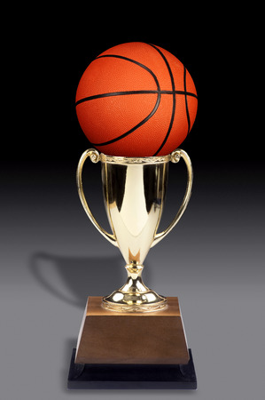 Basketball and a golden trophy award.