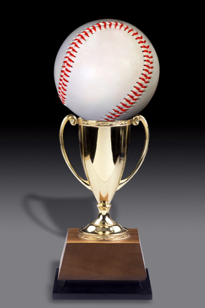 Baseball in a golden cup trophy award.