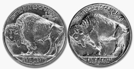 nickle: 1937 D Buffalo nickle with three legs and with four legs.