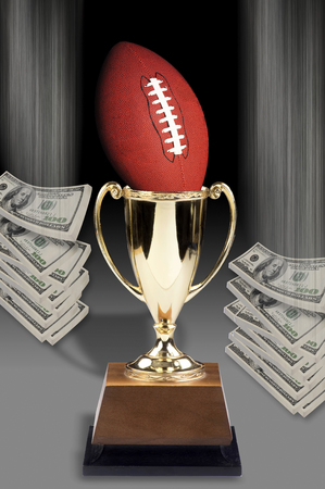 American football and all the money. Stock Photo