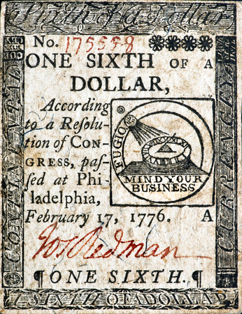 Real 1776 Continental one six dollar designed by benjamin Franklin. Stock Photo