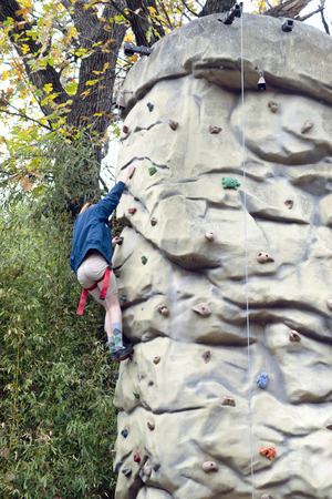 Rock climbing man made wall.