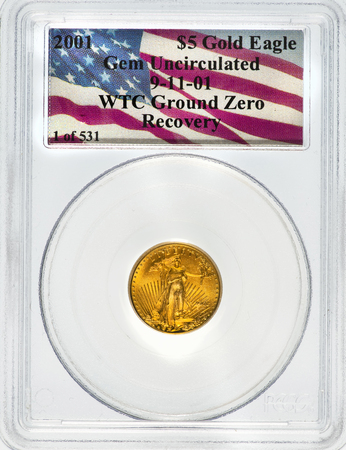 Dallas, Texas  Dec. 4, 2016  Rare graded World Trade Center Gold Eagle recovered in the 2001  New York City World Trade Center Basement.